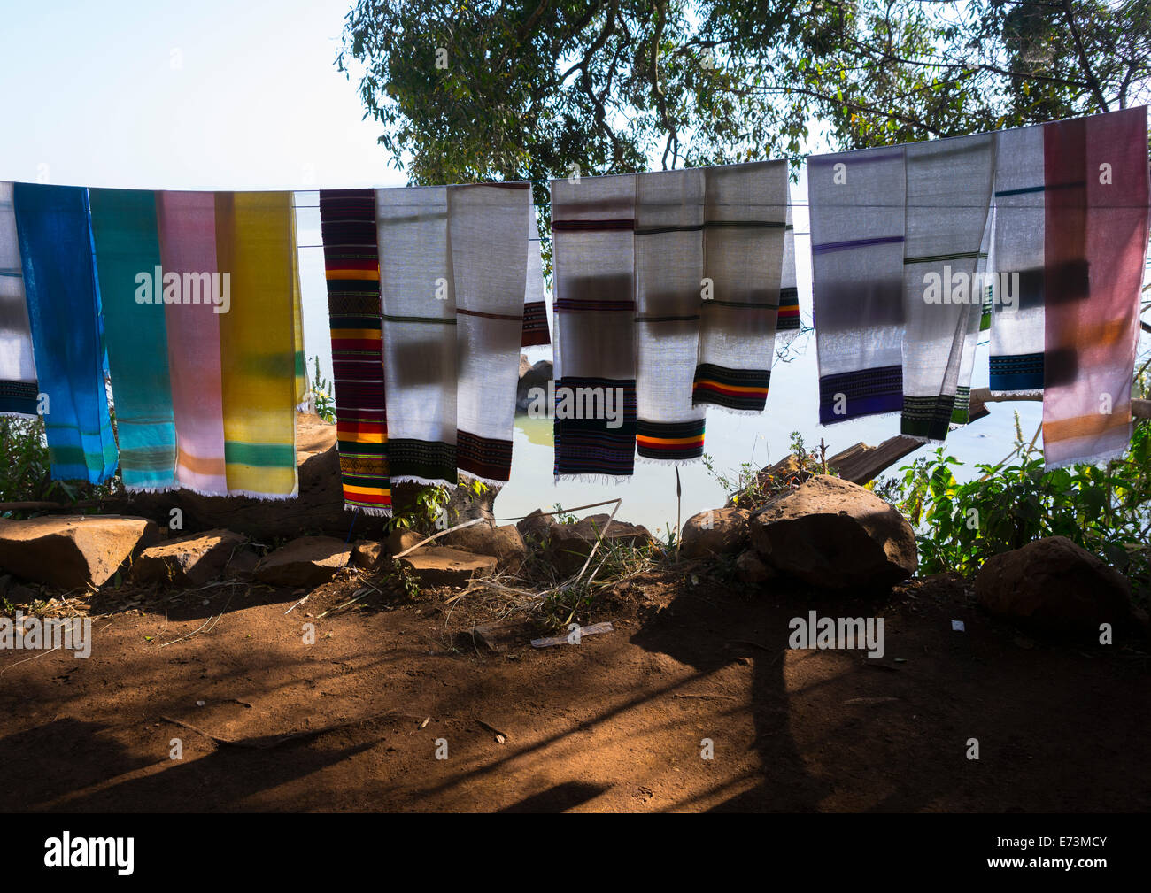 Traditional Shawls For Sale In A Shop, Bahir Dar, Ethiopia - Stock Image