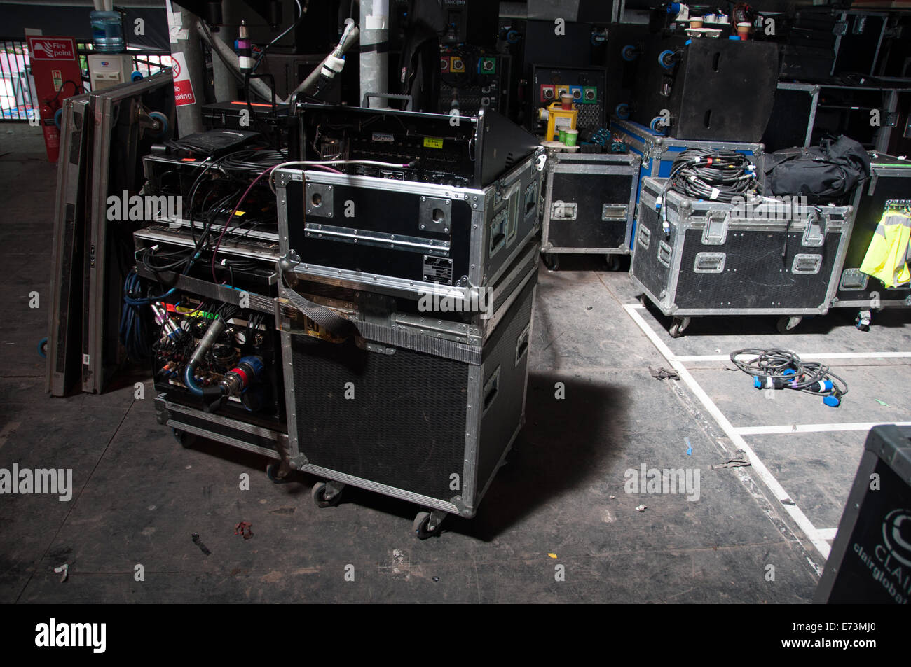 Backstage music equipment boxes Stock Photo