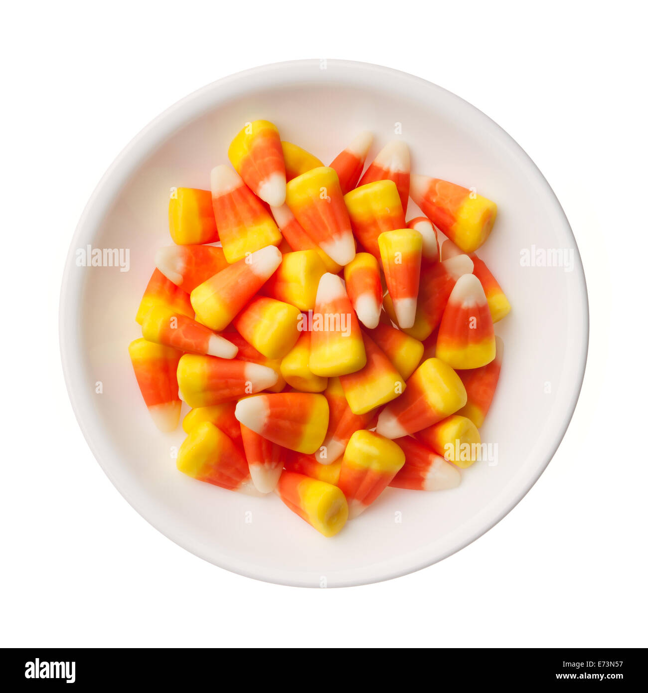 Halloween Candy Corns isolated on white background - Stock Image