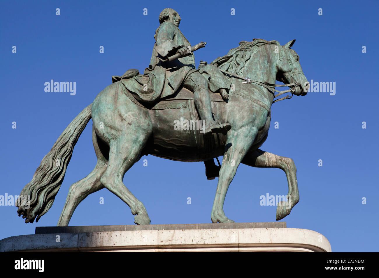 Spain, Madrid, Statue of King Carlos III on Puerta del Sol. Stock Photo