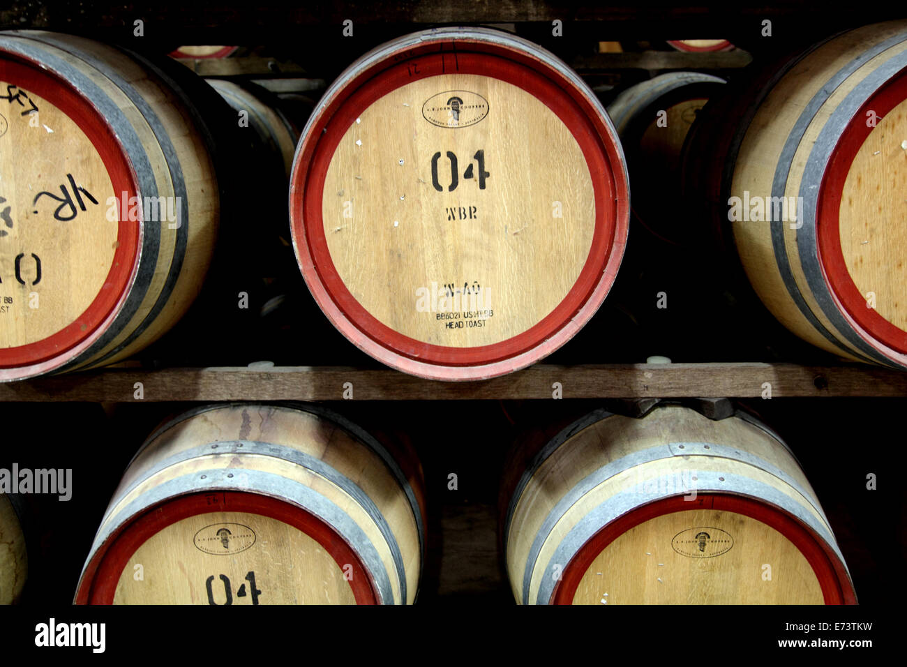 Wine maturing in casks in the Barossa Valley of Australia - Stock Image