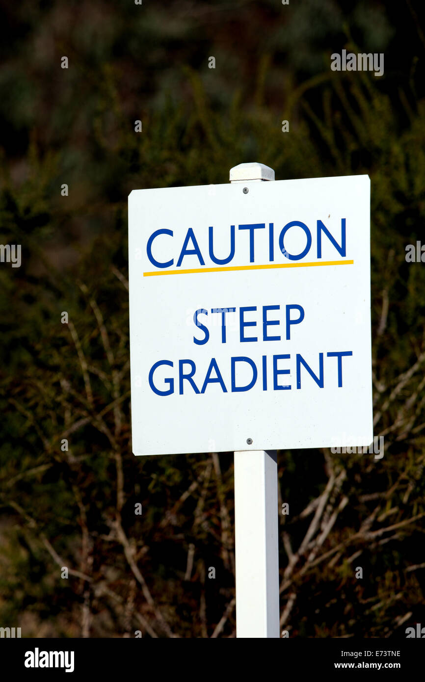 Sign saying Caution Steep Gradient in Australia - Stock Image