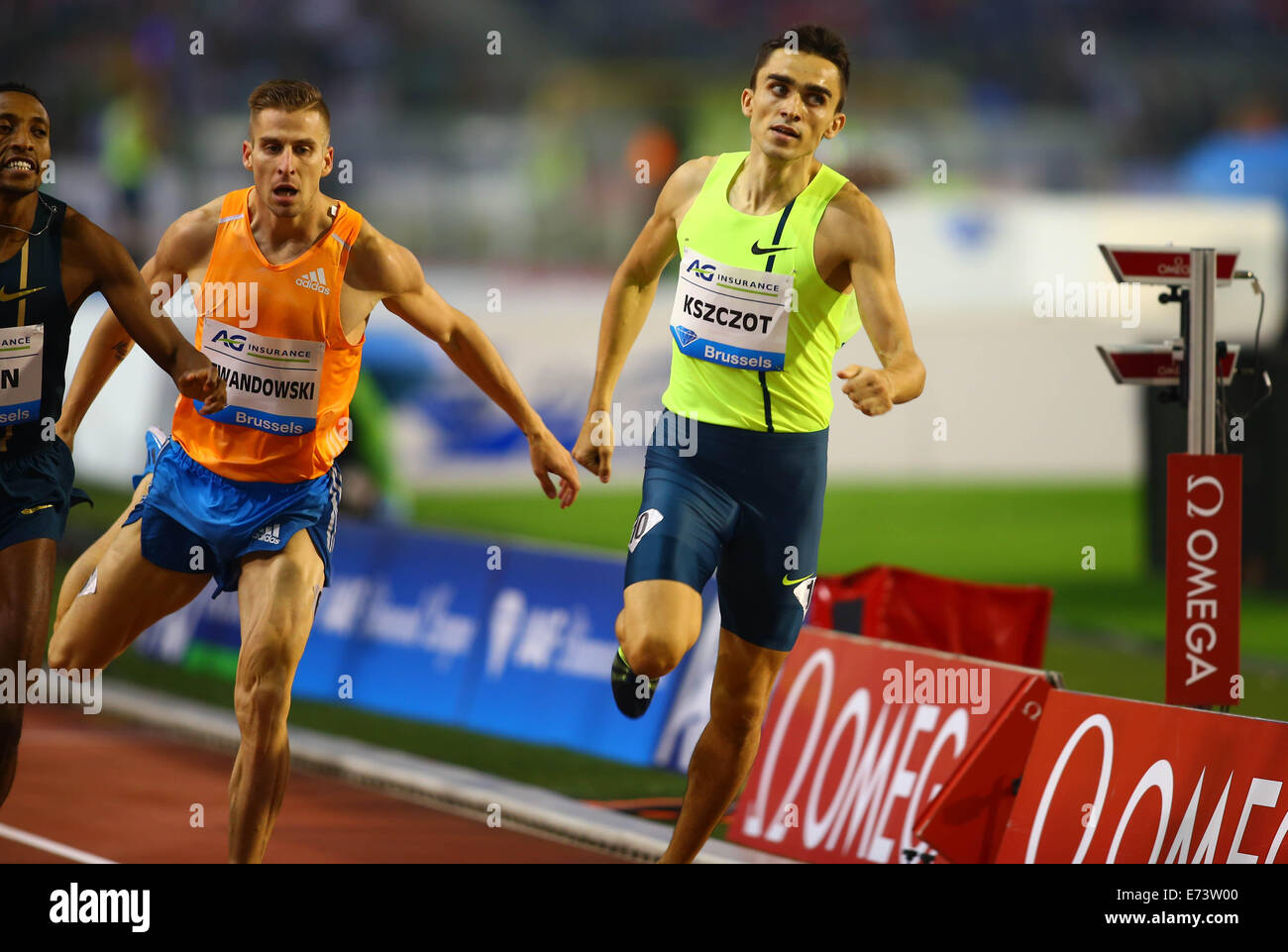 Brussels, Belgium. 5th Sep, 2014. Adam Kszczot (R) from Poland wins the Men's 1000m race at the Memorial Van - Stock Image