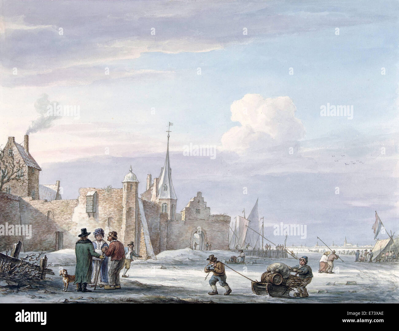 City Scene in Winter - by Martinus Schouman, 1780 - 1848 - Editorial use only. - Stock Image