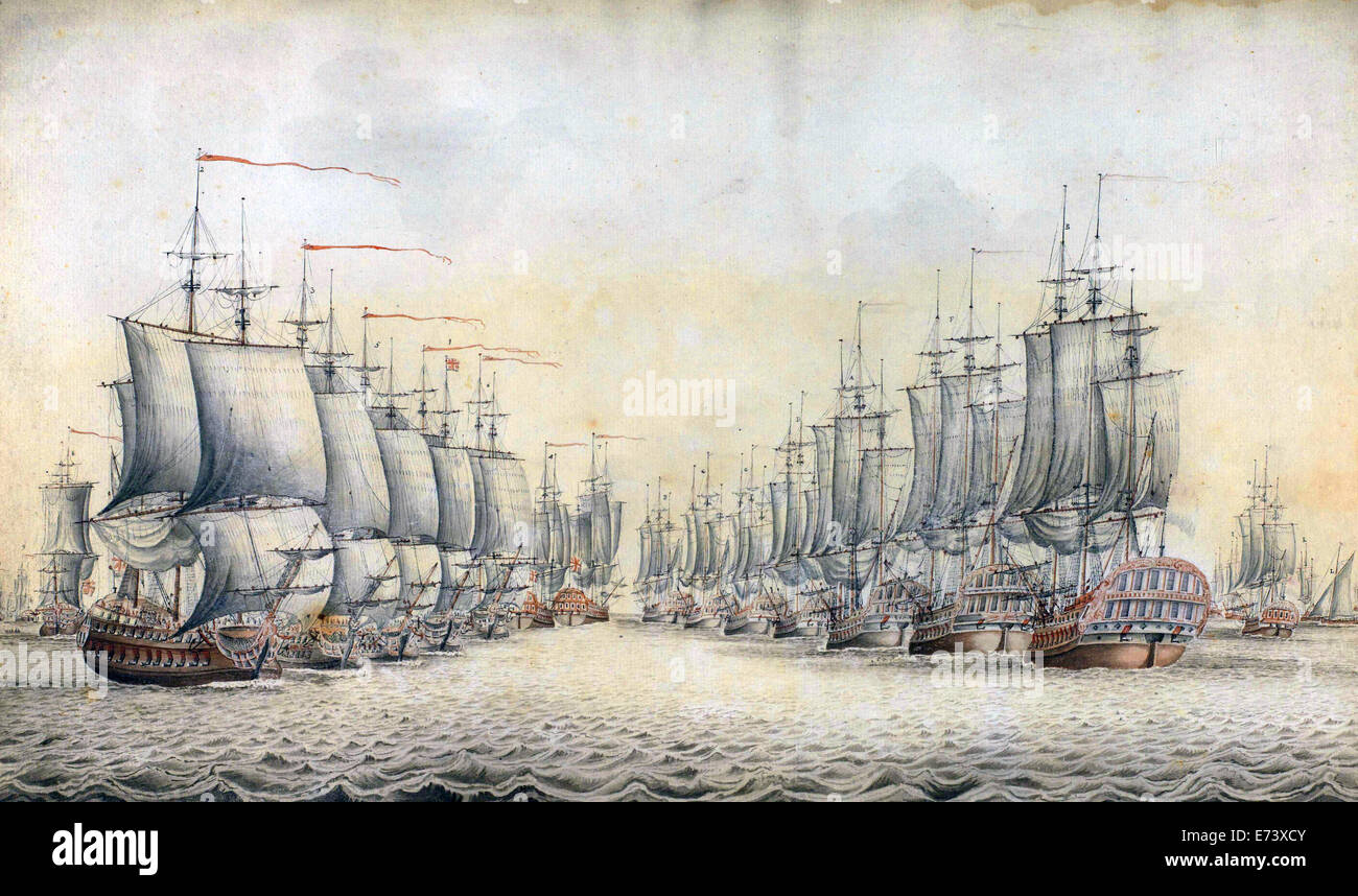 Drawing of the Battle of Dogger Bank, August 5, 1781 - by J. Weuyster, 1783 - Stock Image