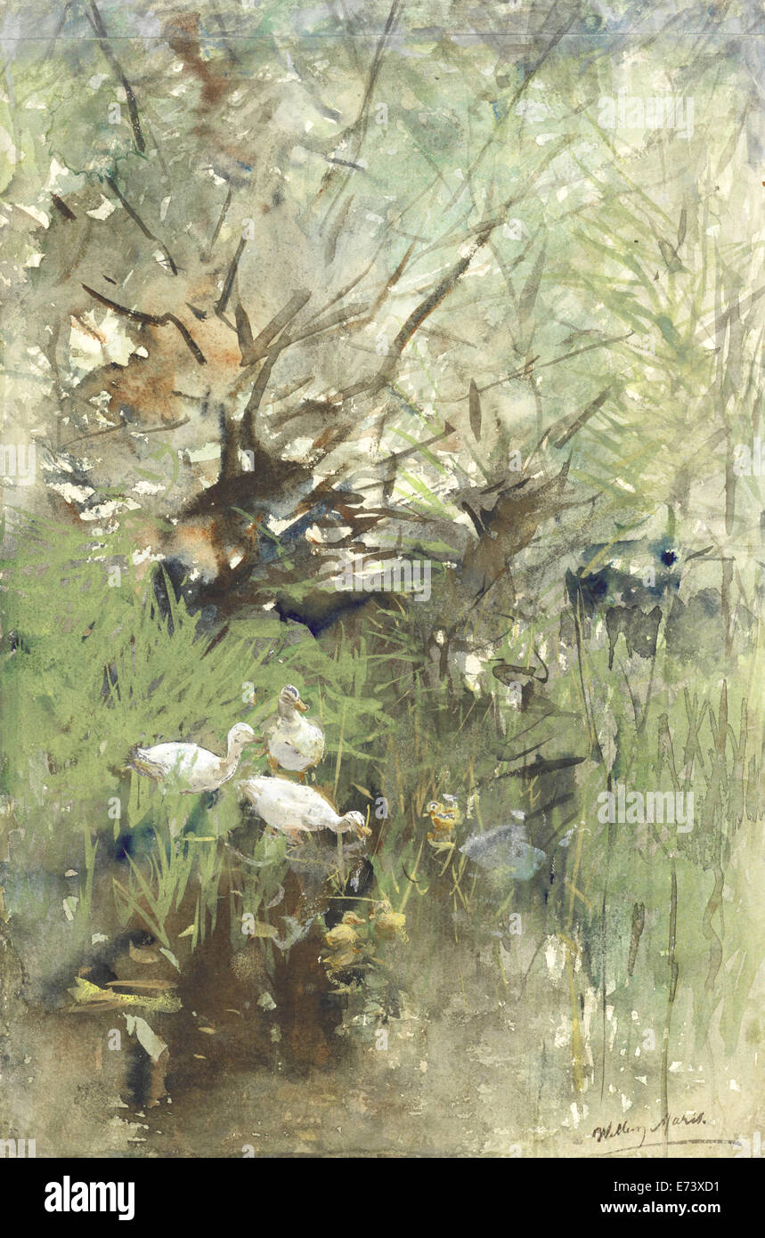 Ducks among willows - by Willem Maris, 1844 - 1910 - Stock Image