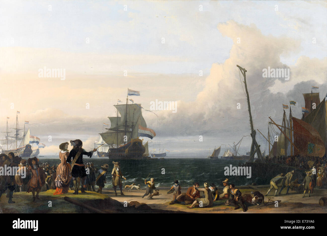 Dutch ships in the roadstead of Texel, in the middle of the 'Golden Lion' - by Ludolf Bakhuysen, 1671 - Stock Image