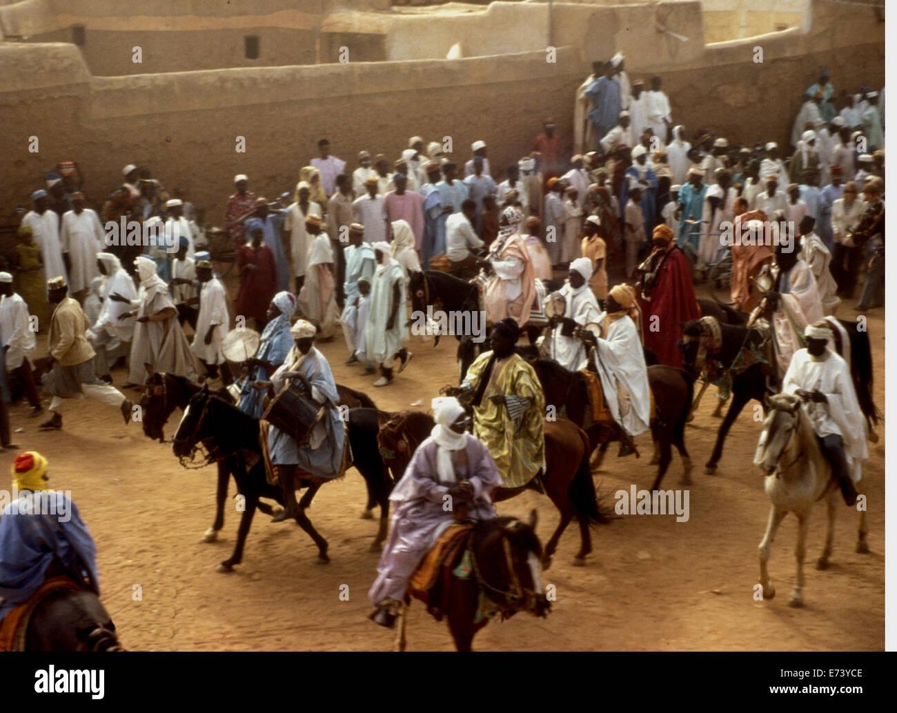 Parade of nobles on horseback marking Eid festivities in Kano, 1970s - Stock Image