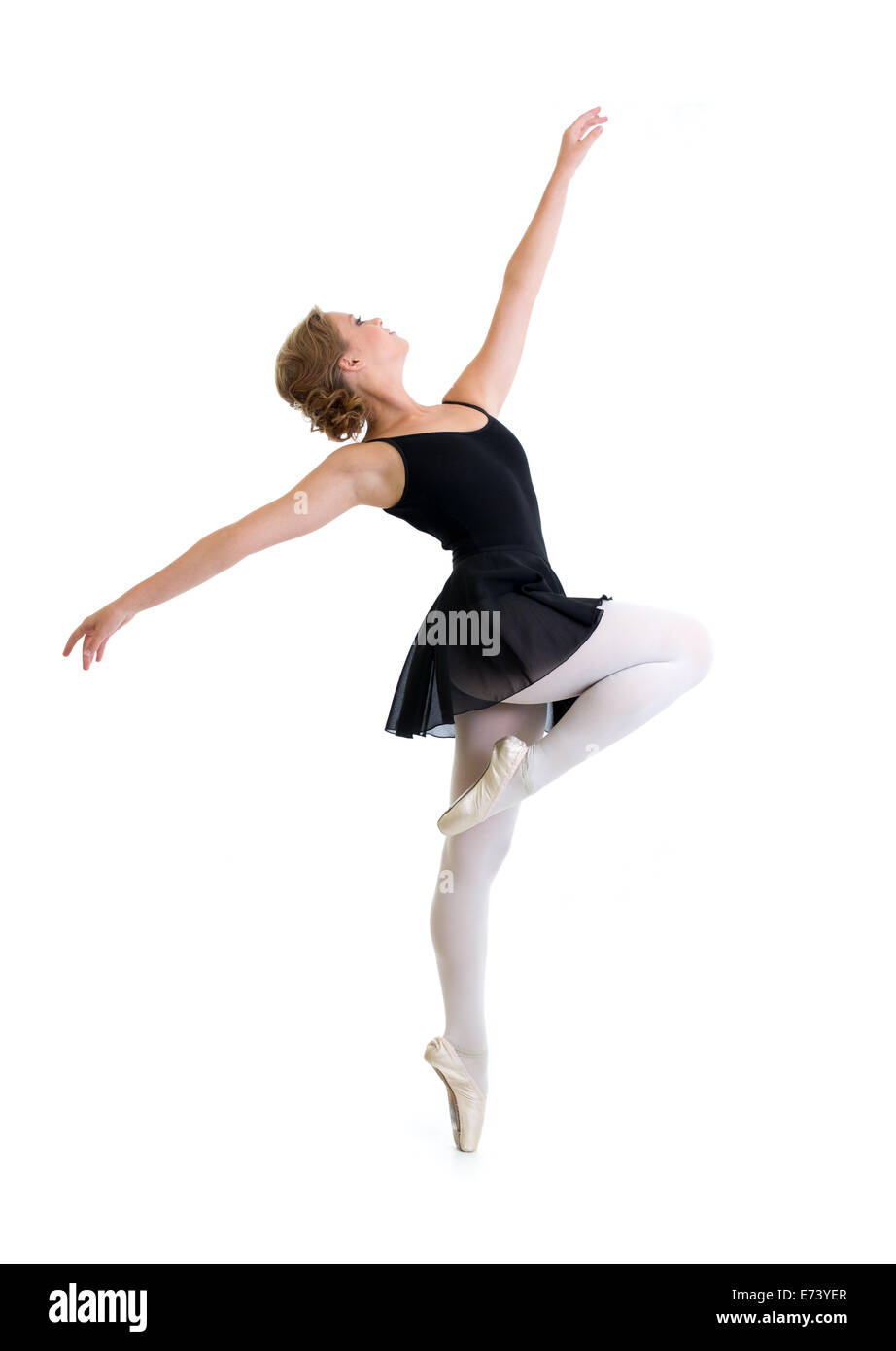 young dancer girl isolated on white - Stock Image