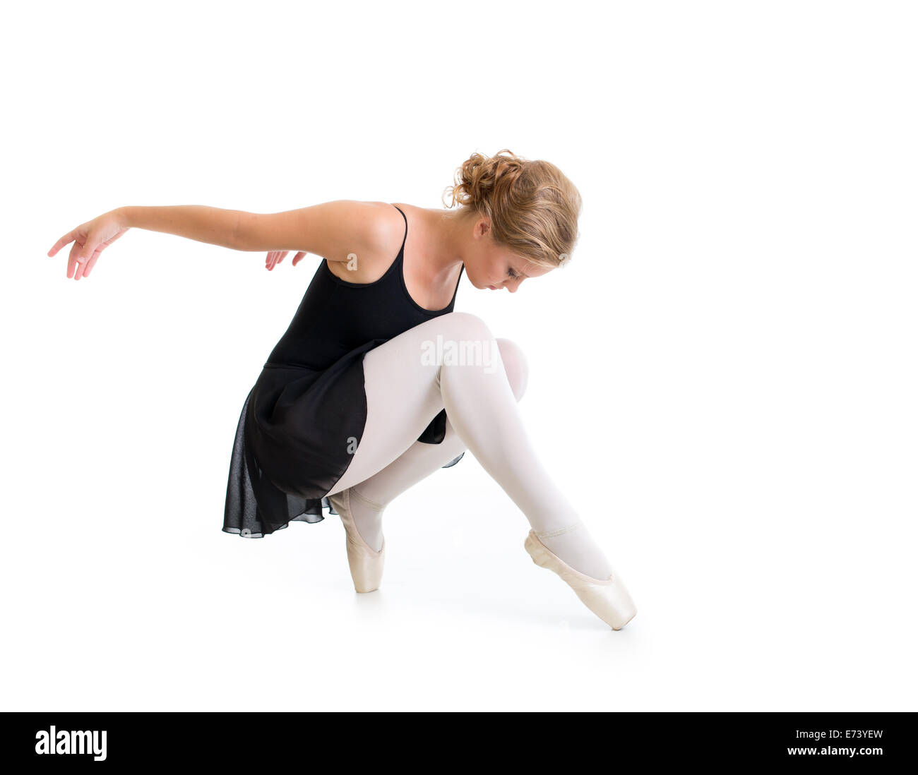 young dancer posing isolated on white - Stock Image