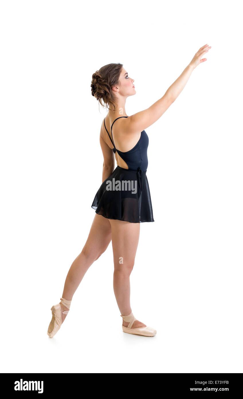 standing dancer girl isolated on white - Stock Image