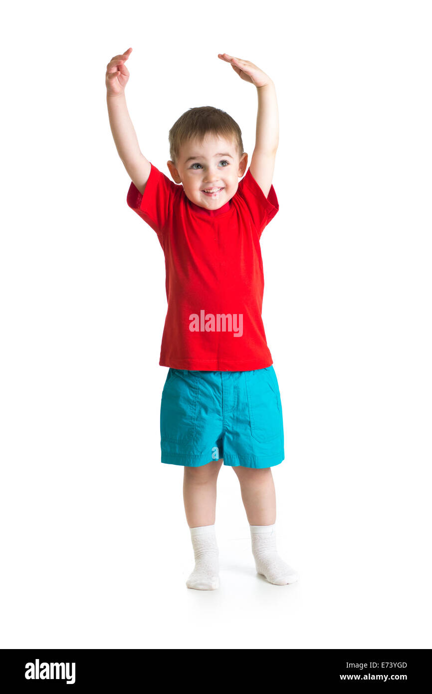 little Kid or child growing Isolated on white - Stock Image