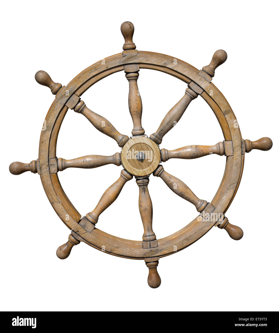 Steering wheel of ship isolated on white with clipping path included - Stock Image