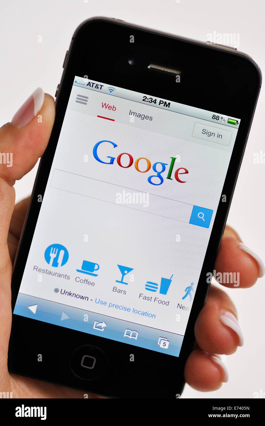 iPhone screen showing Google search engine website - Stock Image