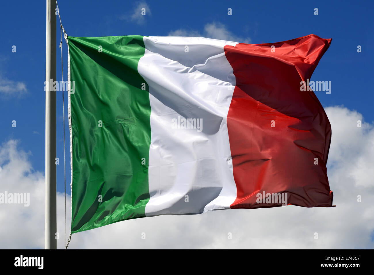 Flag of Italy fluttering in the wind - Stock Image