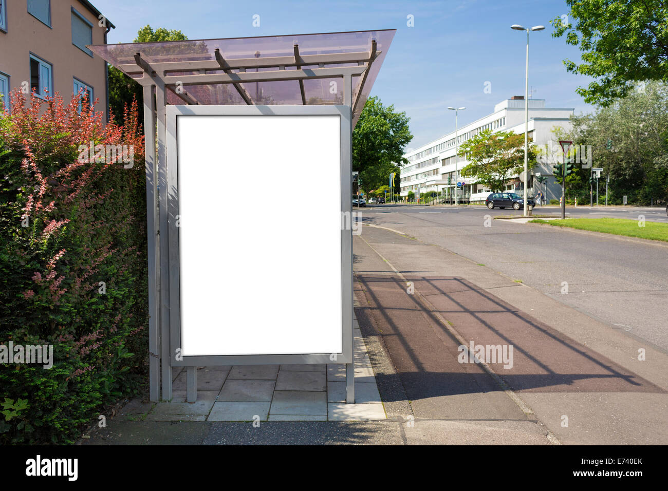 bus stop billboard or poster white blank clipping path is stock