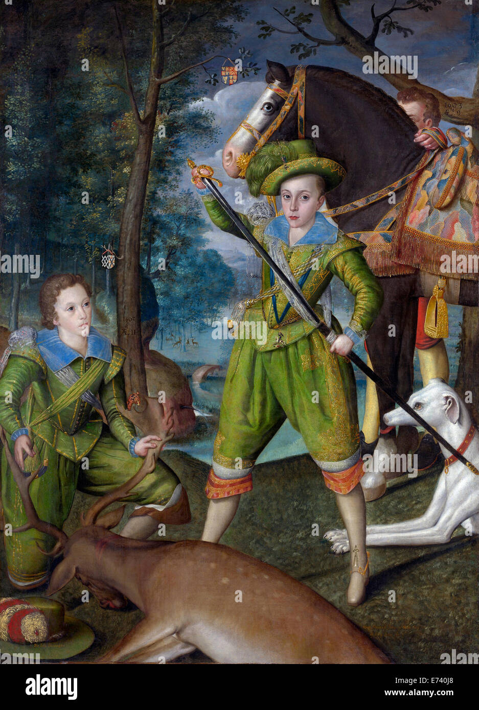Henry Frederick, Prince of Wales, and John Harington in Hunting Field - by Robert Peake the Elder, 1603 - Stock Image
