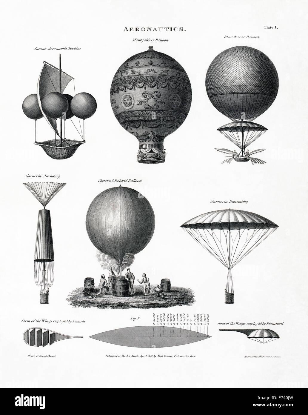 Hot air balloons, 1818 drawing - Stock Image