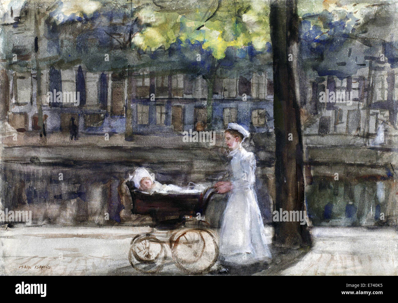 Housemaid with pram - by Isaac Israels, 1875 - 1919 Stock Photo
