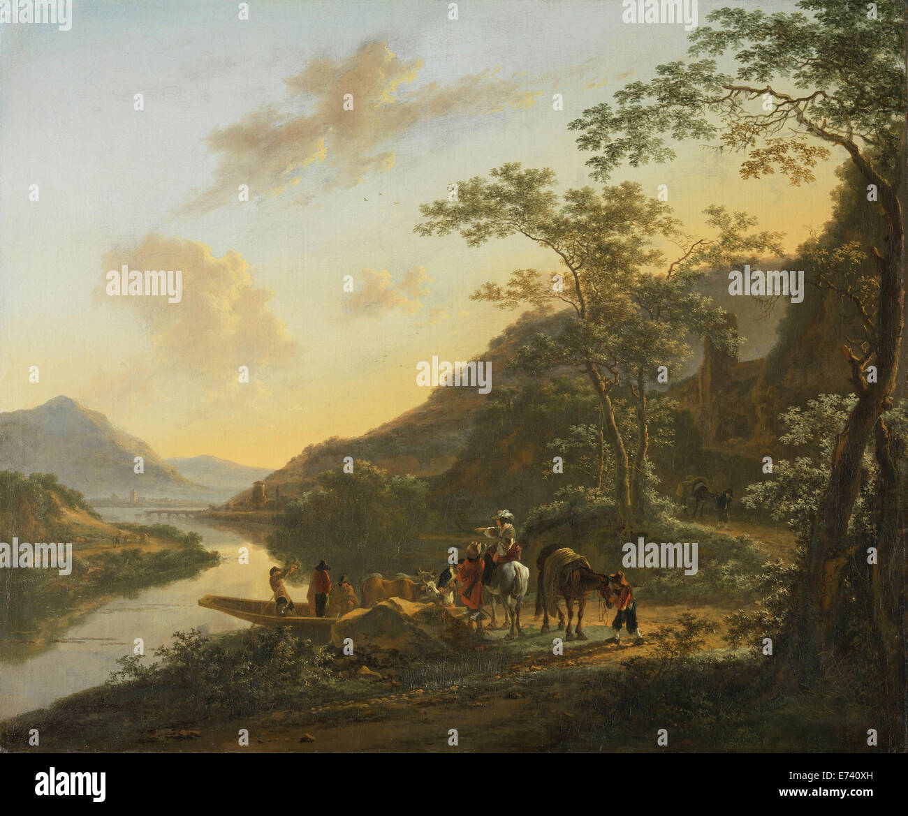 Italian Landscape with Ferry - by Jan Both, 1652 - Stock Image
