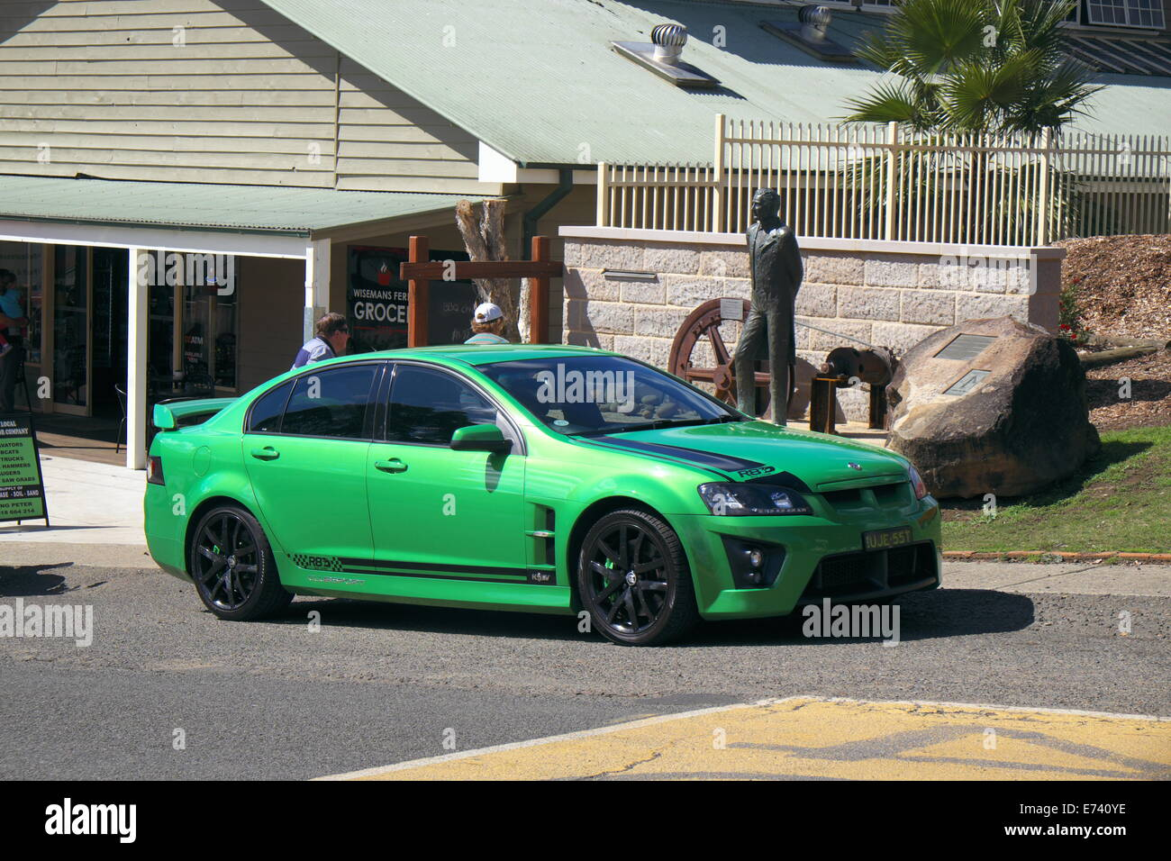 holden special vehicles ( HSV) powerful saloon car the 307 clubsport in green,wisemans ferry,new south wales,australia - Stock Image
