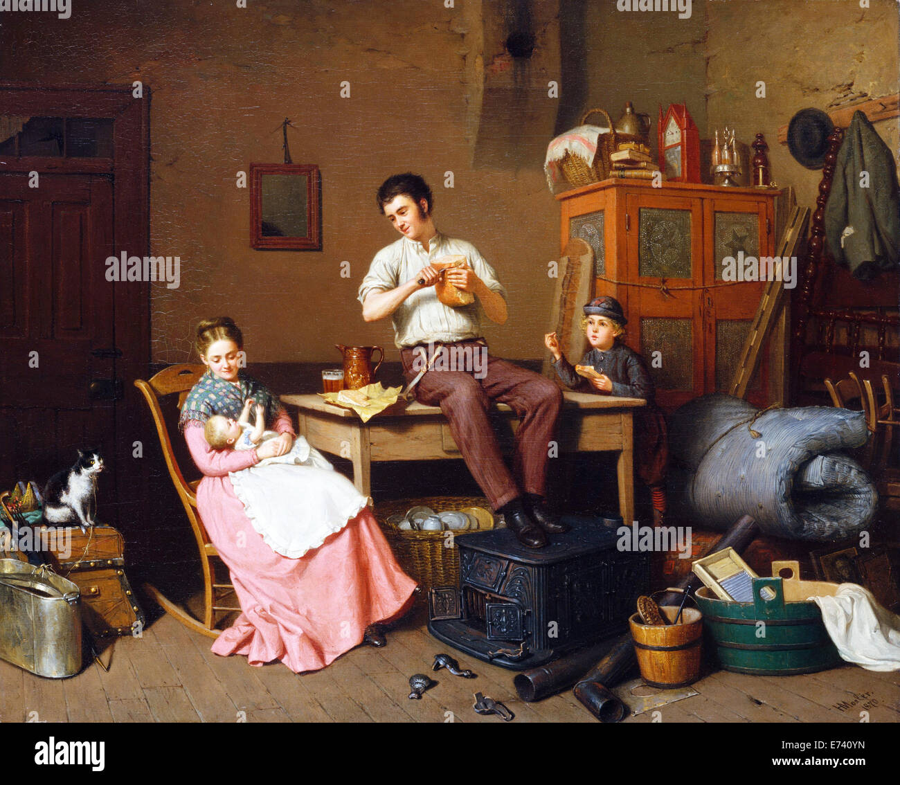 Just Moved - by Henry Mosler, 1870 - Stock Image