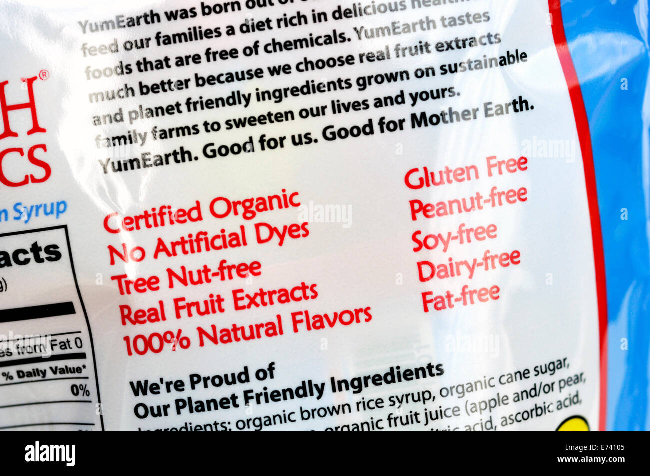 Label on candy package: certified organic, no artificial dyes, gluten free, etc. Stock Photo