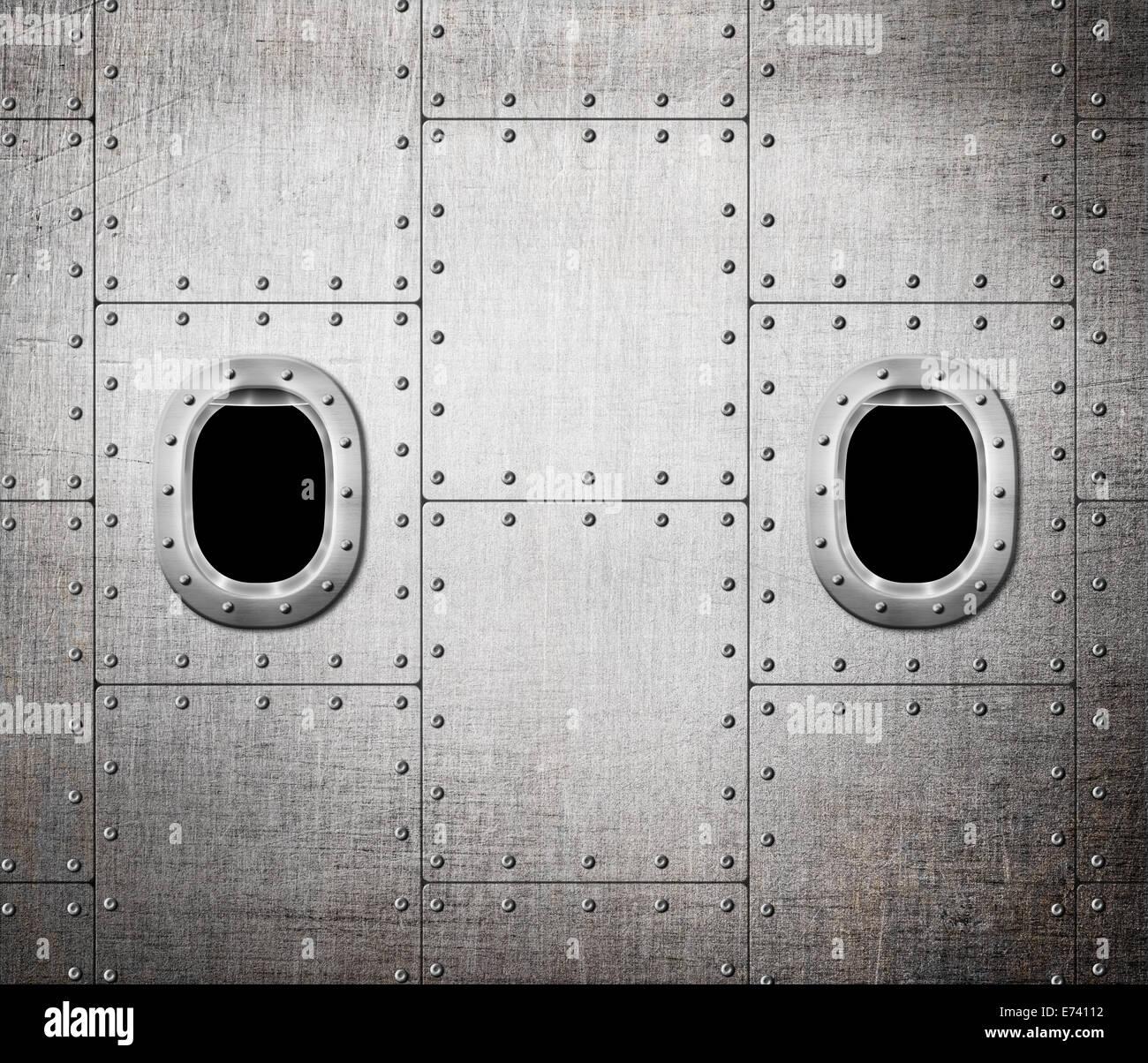 ship or submarine window metal background - Stock Image