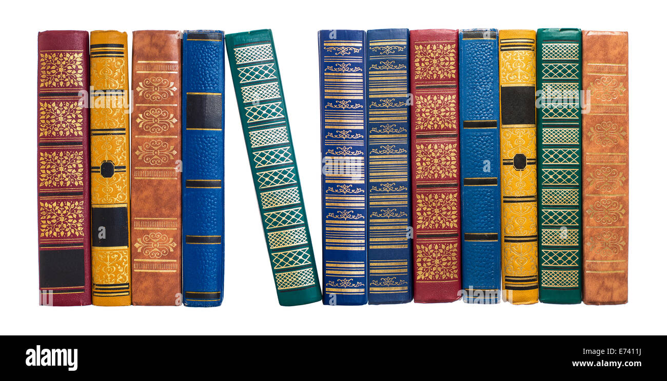 bookshelf or book spines row isolated on white - Stock Image