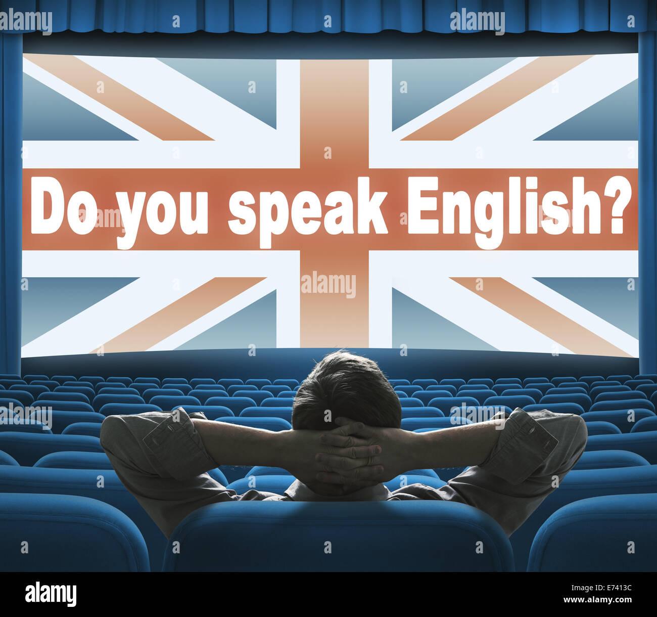 'Do you speak English?' phrase on wide cinema screen - Stock Image