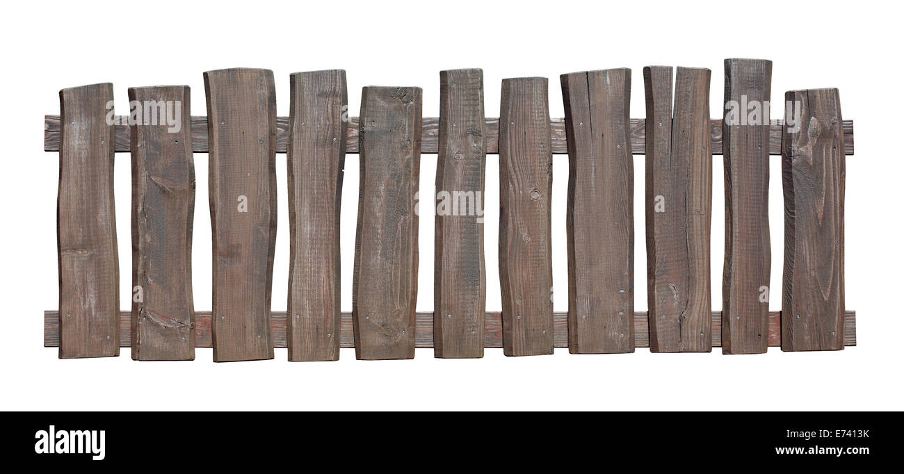 Old wooden fence isolated with clipping path included - Stock Image