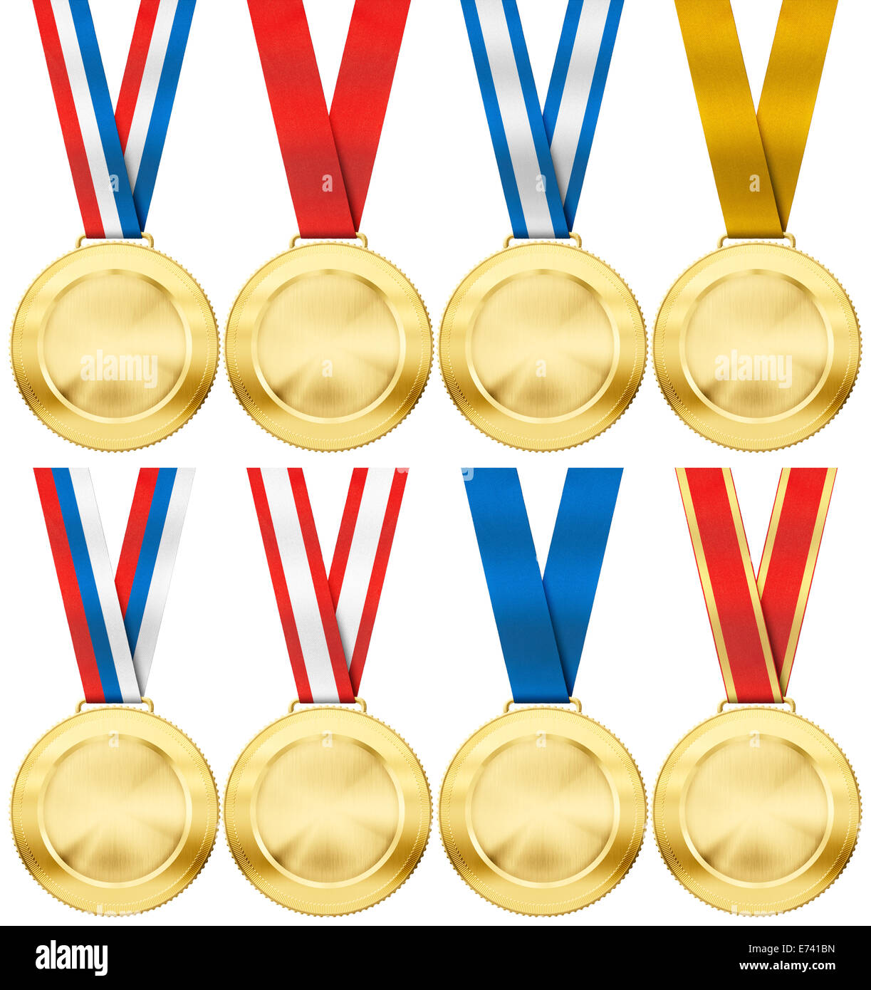 gold medal set with various photo realistic ribbon type isolated on white - Stock Image