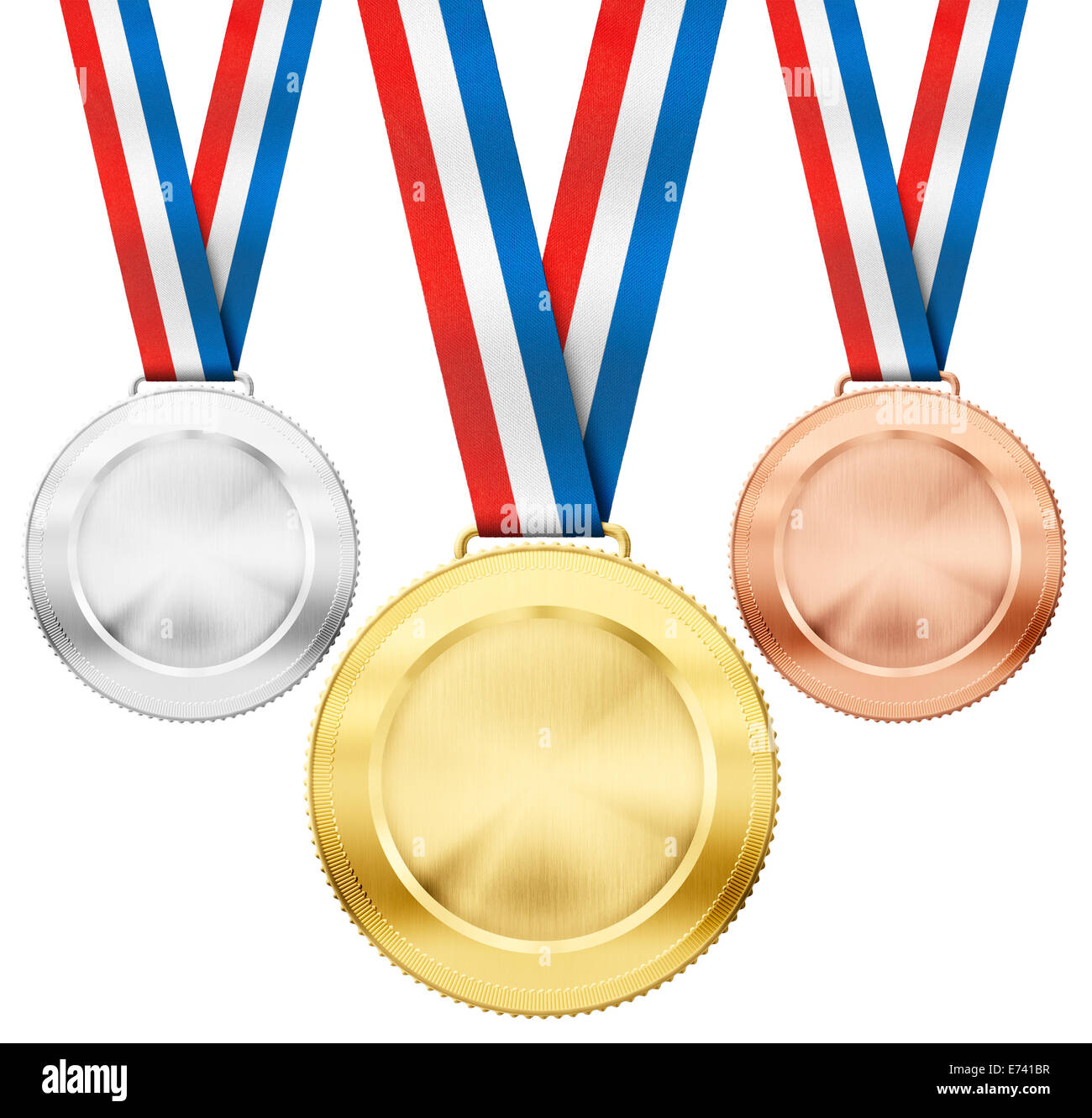 gold, silver, bronze realistic sport medals with tricolor ribbon set isolated on white - Stock Image