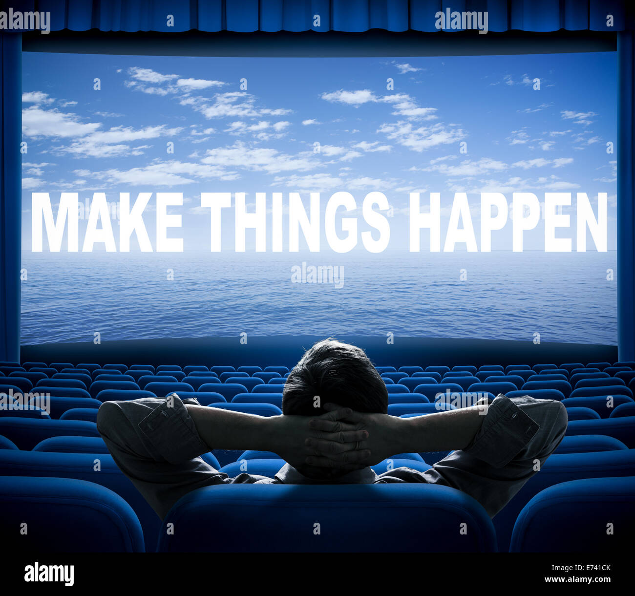 make things happen phrase on cinema screen - Stock Image