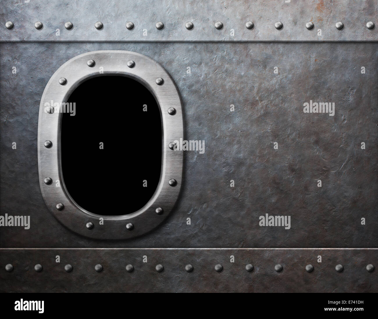 ship or submarine window steam punk metal background - Stock Image