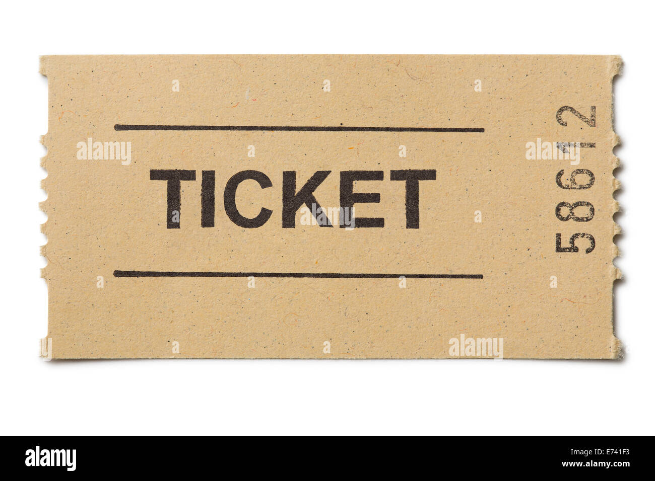 Simple paper ticket isolated on white - Stock Image