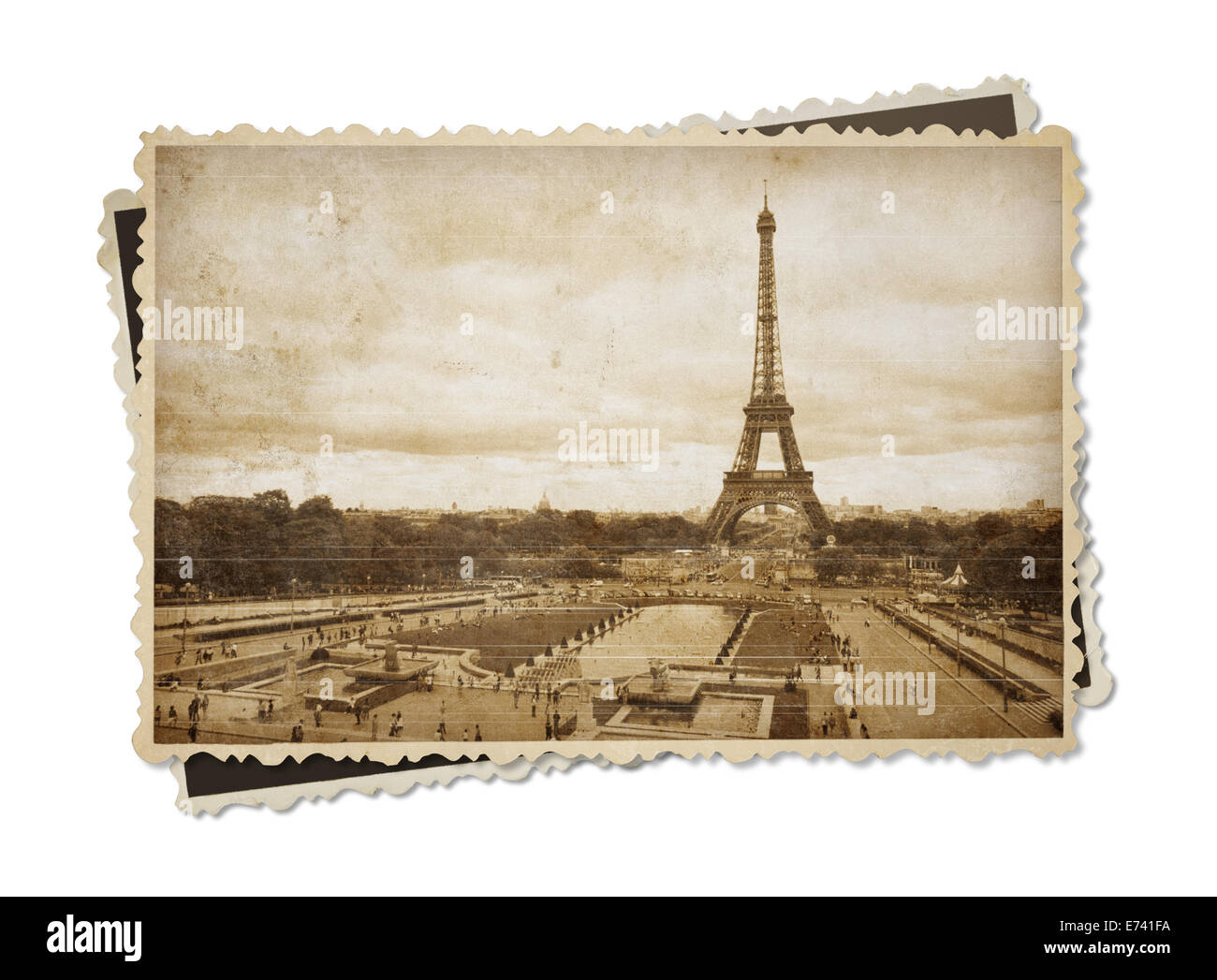 Eiffel tower in Paris vintage sepia toned postcard isolated on white - Stock Image