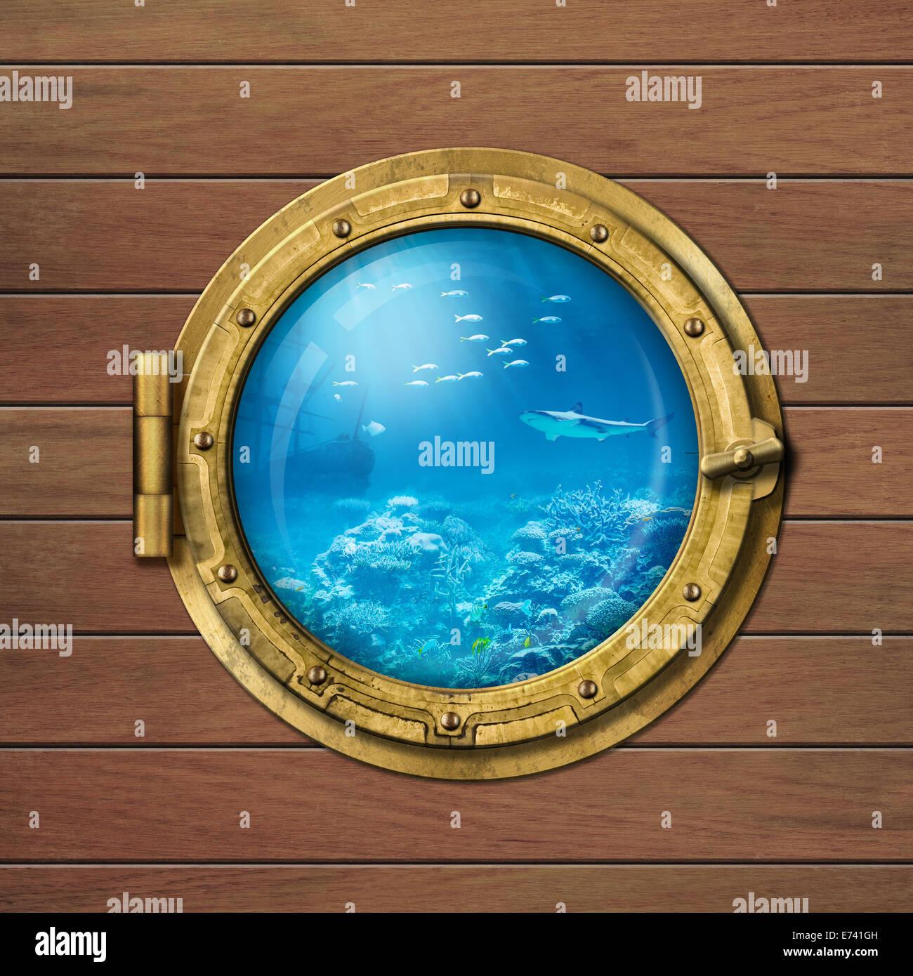 bathyscaphe or submarine porthole underwater - Stock Image