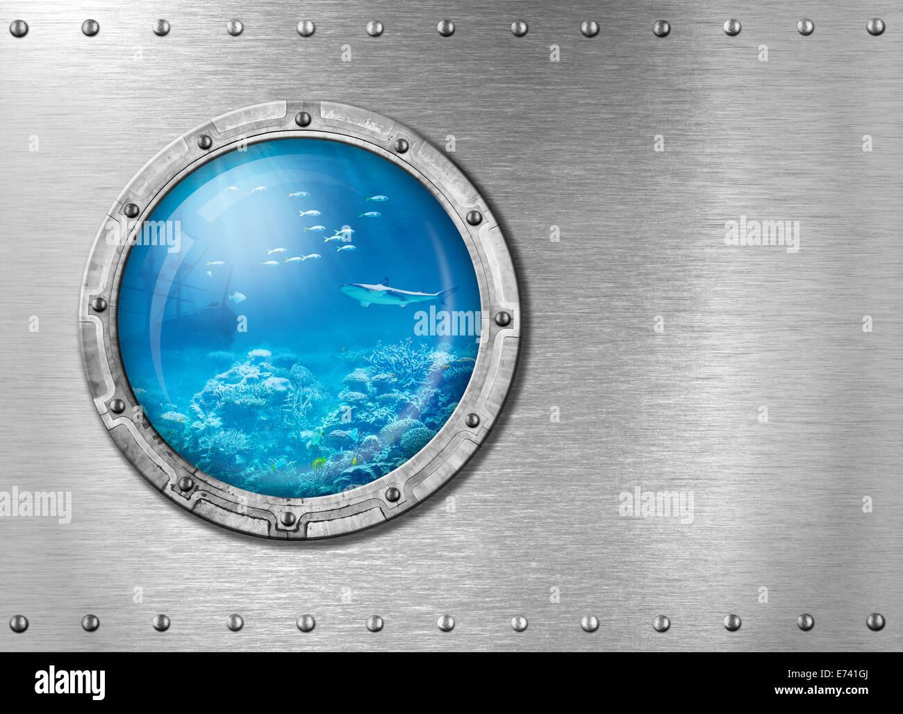 submarine metal porthole underwater - Stock Image