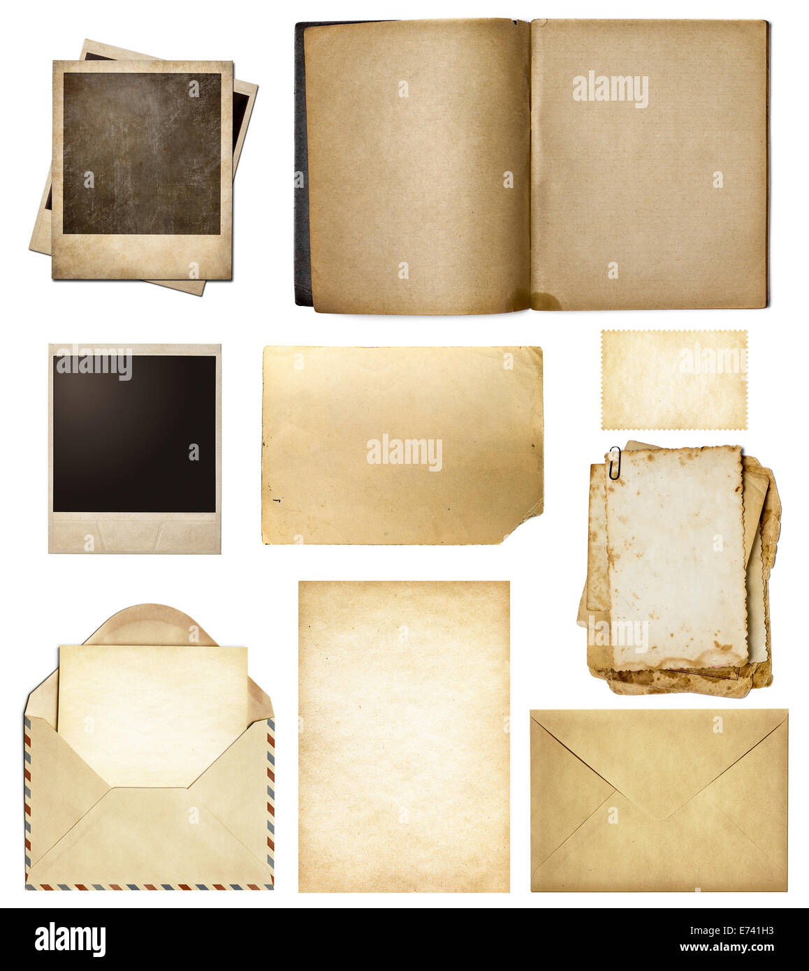 Old mail, paper, book, polaroid frames, stamp isolated collection ...