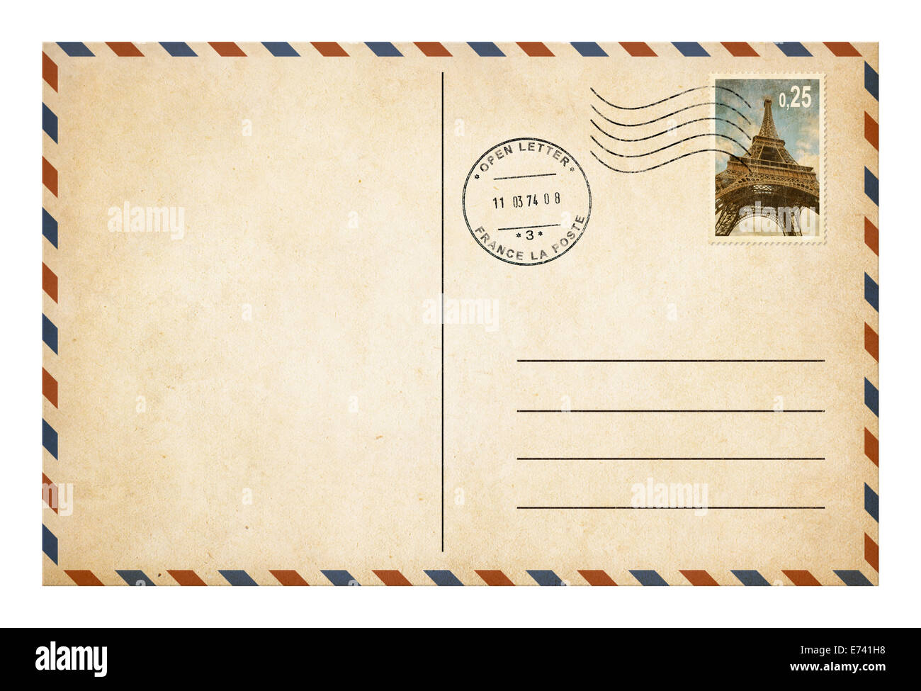 Old style postcard or envelope with postage stamp isolated - Stock Image