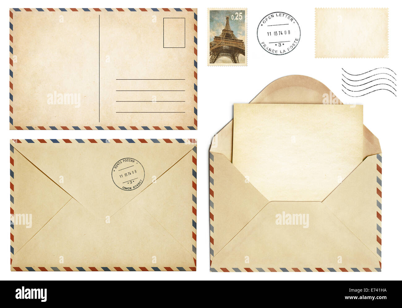 Old postcard, mail envelope, open letter, stamp collection - Stock Image