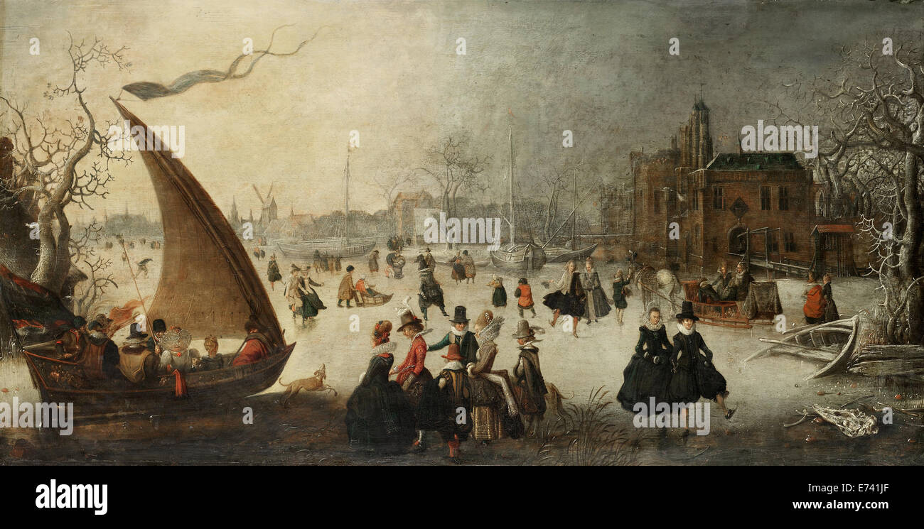 Landscape with a frozen canal, skaters and an Ice-Boat - by Adam van Breen, 1611 - Stock Image