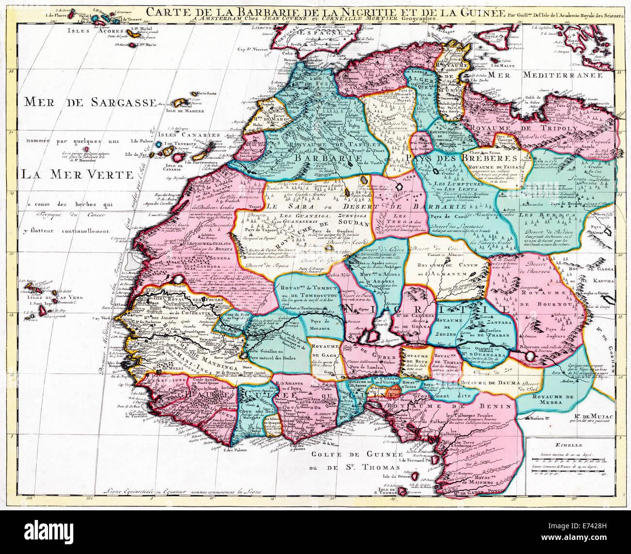 Map of North West Africa   Guillaume Delisle, Johannes Cornelis