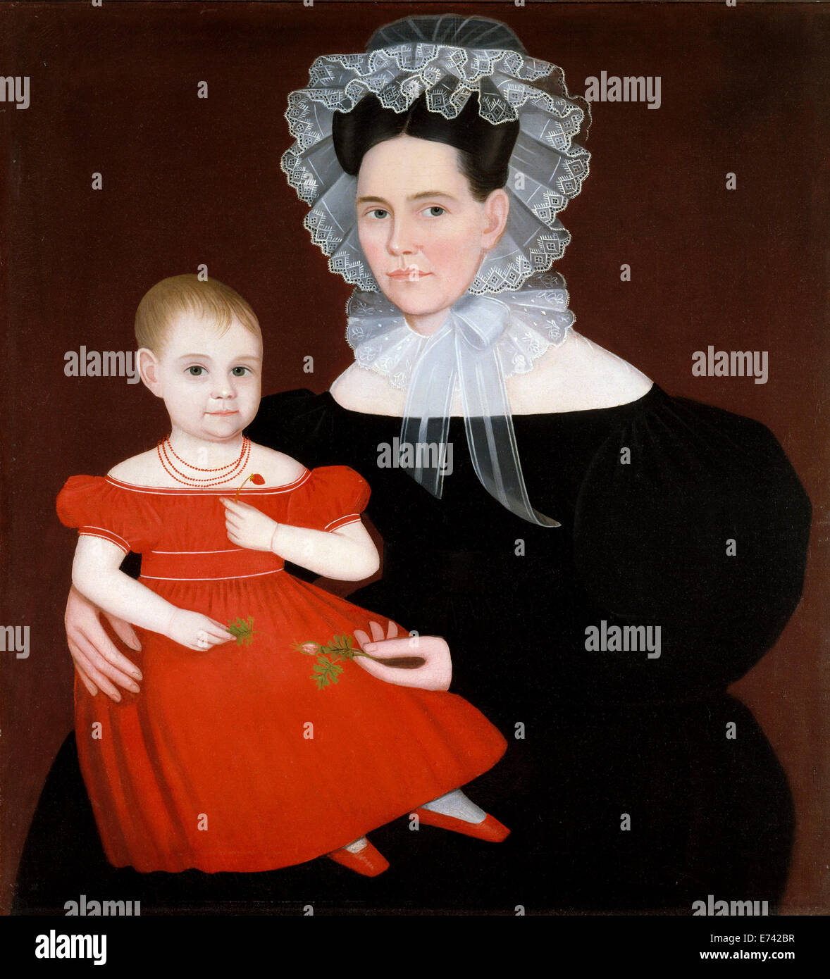Mrs. Mayer and Daughter - by Ammi Phillips, 1835 - Stock Image
