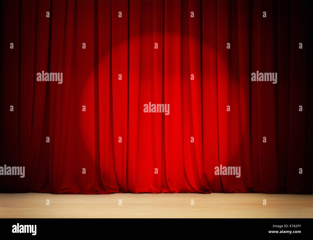 red curtain with spot light  theater stage - Stock Image