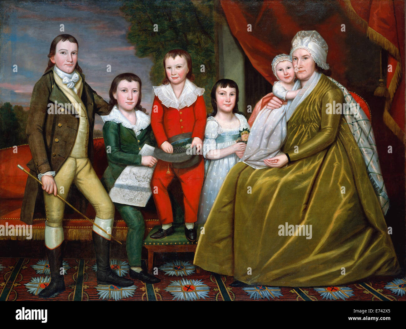 Mrs. Noah Smith and Her Children - by Ralph Earl, 1798 - Stock Image