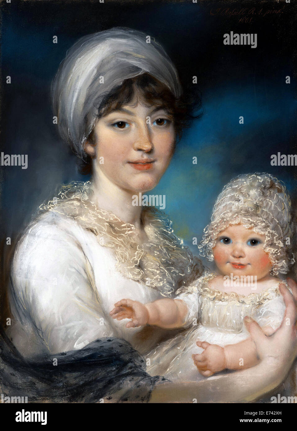 Mrs Robert Shurlock, Henrietta Ann Jane Russell, and Her Daughter Ann - by John Russell, 1801 - Stock Image