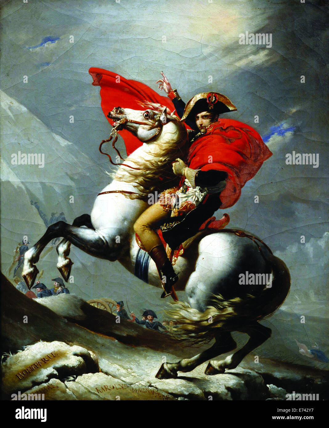 Napoleon Crossing the Alps, known as 'Napoleon at the Saint-Bernard Pass' - by Jacques-Louis David, 1801 - Stock Image
