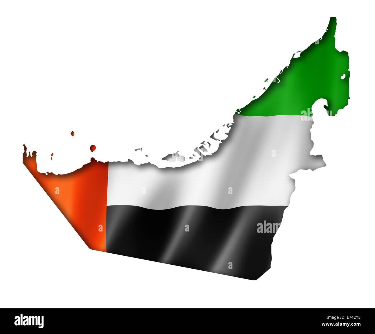 United Arab Emirates flag map, three dimensional render, isolated on white - Stock Image